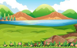Scena della natura con sfondo di colline vettore