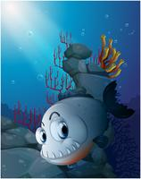 Un piranha spaventoso vicino alle rocce
