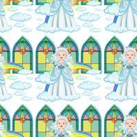 Regina senza soluzione di continuità sulle nuvole e arcobaleno vettore