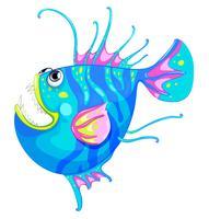 Un pesce colorato con una grande bocca vettore