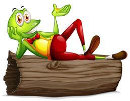 Una rana che si trova sopra il tronco vettore