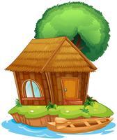 Una casa su un'isola vettore