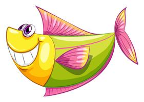 Un pesce acquatico colorato sorridente vettore
