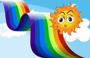 Un arcobaleno accanto al sole vettore