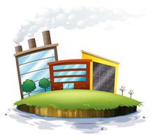 Un'isola con fabbriche vettore