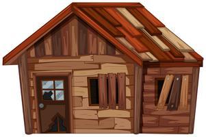 Casa di legno in cattive condizioni vettore