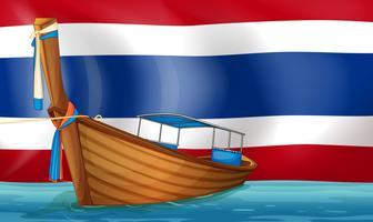 Una barca di fronte alla bandiera thailandese vettore