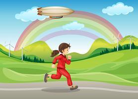 Una ragazza in jogging rosso vettore