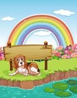 Cane e arcobaleno vettore