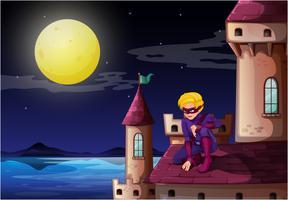 Un supereroe maschio al castello vettore