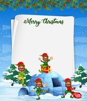 Elfo di Natale sul modello di carta bianca
