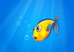 Un pesce giallo nuota sotto il mare vettore