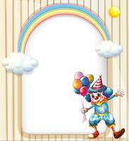 Una superficie vuota con un clown che tiene palloncini vettore