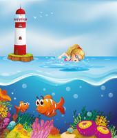 Una ragazza che nuota vicino al faro vettore