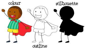 Set di ragazzo che indossa il design grafico diverso super eroe