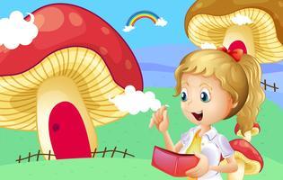 Una ragazza in possesso di un portafoglio vicino alle case dei funghi giganti vettore