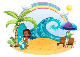 Una ragazza abbronzatura in spiaggia con una tavola da surf vettore