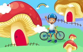 Un giovane motociclista vicino alla casa dei funghi gigante vettore