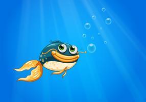 Un pesce con una grande bocca sotto l'oceano vettore