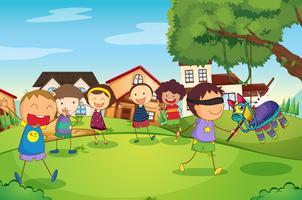 bambini che giocano in natura vettore