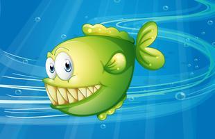 Un pesce verde sotto il mare vettore