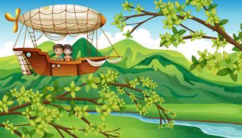 Un ragazzo e una ragazza dentro l'aereo volante