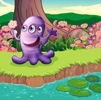 Un mostro viola a tre occhi sulla riva del fiume vettore