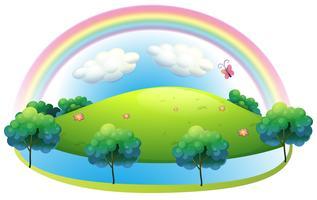 Un arcobaleno sulla collina vettore