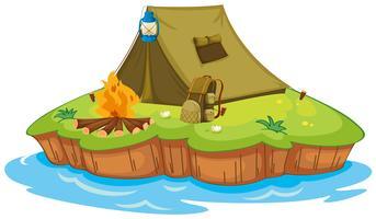Camping su un'isola vettore