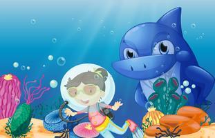 Un giovane subacqueo vettore