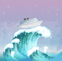 Una barca sopra l'onda grande vettore