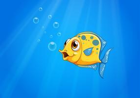 Un oceano profondo con un pesce giallo vettore
