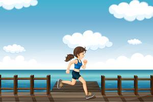 Una giovane donna che fa jogging vettore