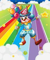 Un clown con palloncini in strada colorata vettore