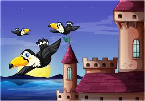 Uccelli vicino al castello vettore