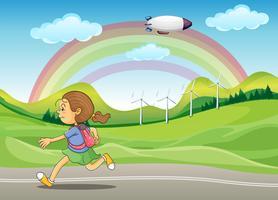 Uno studente che corre per strada vettore