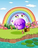 Un mostro che cammina vicino allo stagno con un arcobaleno nel cielo vettore