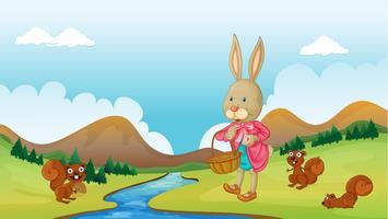 Un coniglio e scoiattoli vettore