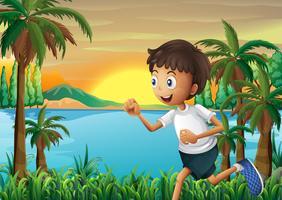 Un ragazzo che fa jogging vicino al fiume vettore