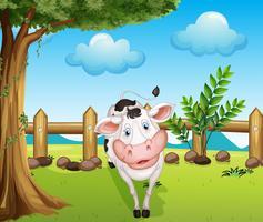 Una mucca dentro il recinto