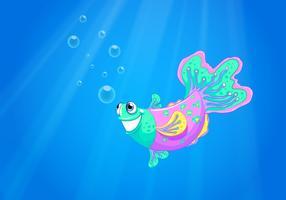 Un pesce rosa sorridente nell'oceano vettore