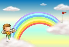 Un angelo che gioca a golf vicino all'arcobaleno vettore