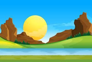 Una vista del fiume sotto il cielo blu con un sole vettore