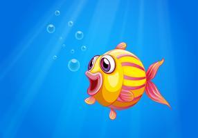 Un pesce bolla colorato sotto il mare