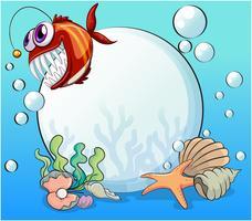 Una grande perla e il piranha sorridente sotto il mare vettore