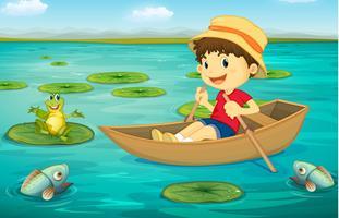 Ragazzo in barca vettore