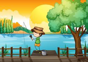 Un uomo che pesca vettore