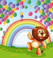 Un leone sotto i palloni galleggianti con un arcobaleno vettore