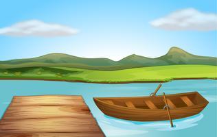 Una barca e un pontile vettore
