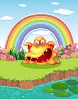 Un mostro spaventoso allo stagno e un arcobaleno nel cielo vettore